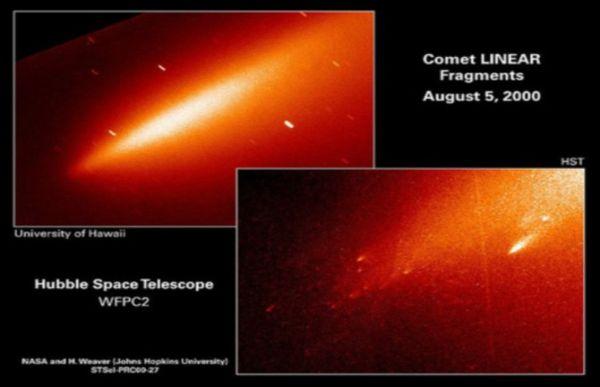 """Il nucleo ormai frantumato della cometa LINEAR, il 5 agosto del 2000. A sinistra la forma a """"sigaro"""" osservata da terra. A destra l'immagine di Hubble con i singoli frammenti ben evidenti."""